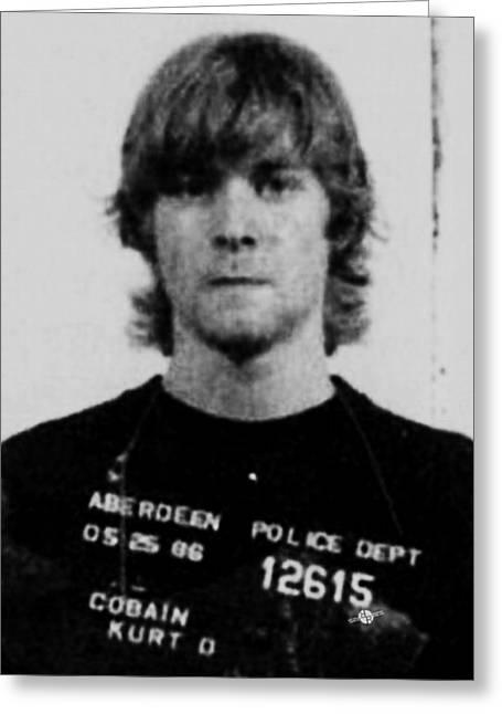 Kurt Cobain Mug Shot Vertical Black And Gray Grey Greeting Card