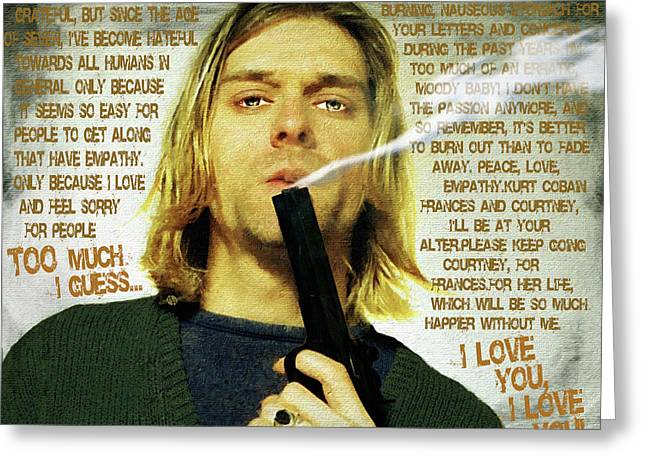 Kurt Cobain Nirvana With Gun And Suicide Note Painting Macabre 1 Greeting Card by Tony Rubino