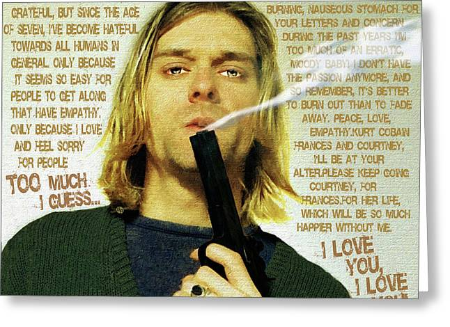 Kurt Cobain Nirvana With Gun And Suicide Note Painting Macabre 2 Greeting Card by Tony Rubino