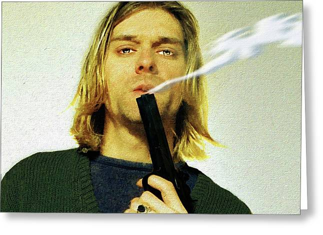 Kurt Cobain Nirvana With Gun Painting Macabre 1 Greeting Card by Tony Rubino