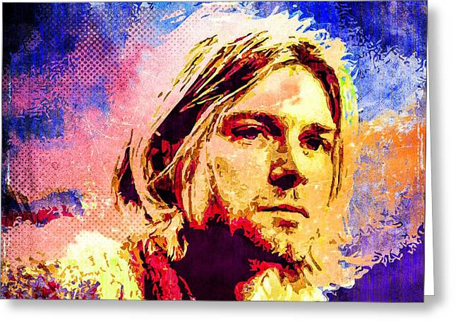 Kurt Cobain Greeting Card by Svelby Art