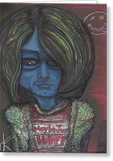 Greeting Card featuring the painting Kurt Cobalien by Similar Alien