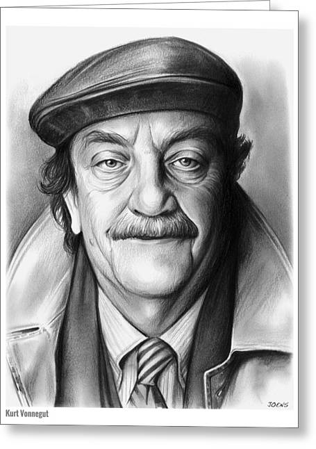 Kurt Vonnegut Greeting Card by Greg Joens