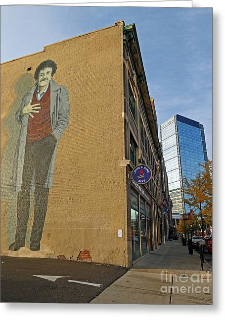 Kurt Vonnegut In Indy Greeting Card by Steve  Gass