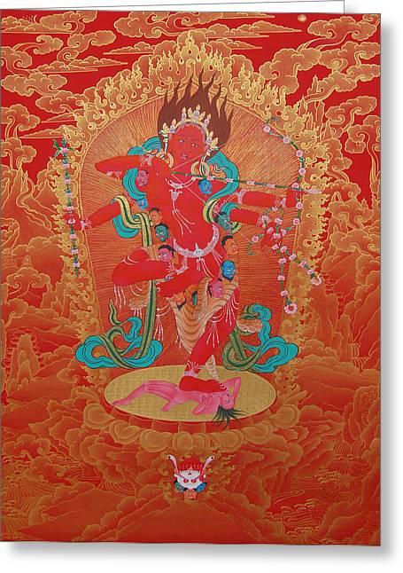 Thangka Greeting Cards - Kurukulla Greeting Card by Binod Art School