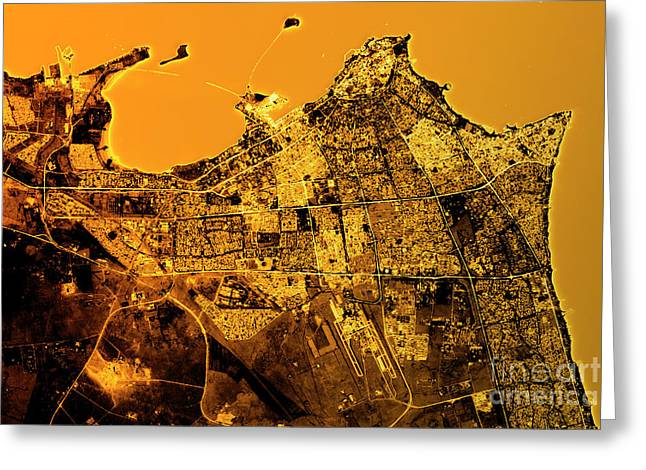 Kuwait City Abstract City Map Golden Greeting Card by Frank Ramspott