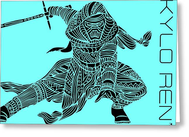 Kylo Ren - Star Wars Art - Blue Greeting Card