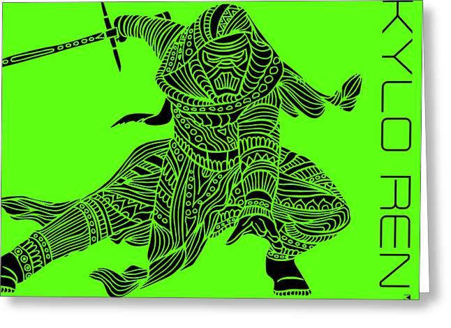 Kylo Ren - Star Wars Art - Green Greeting Card