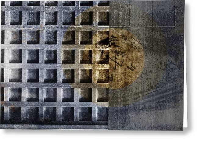 Kyoto Doorways In Blue Series 3 Greeting Card by Carol Leigh