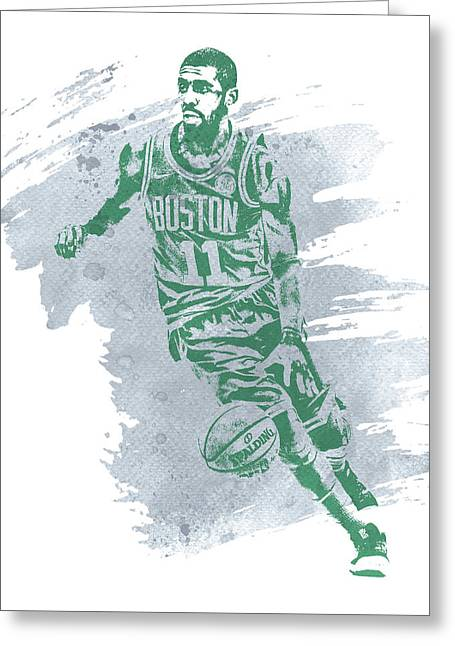Kyrie Irving Boston Celtics Water Color Art 3 Greeting Card