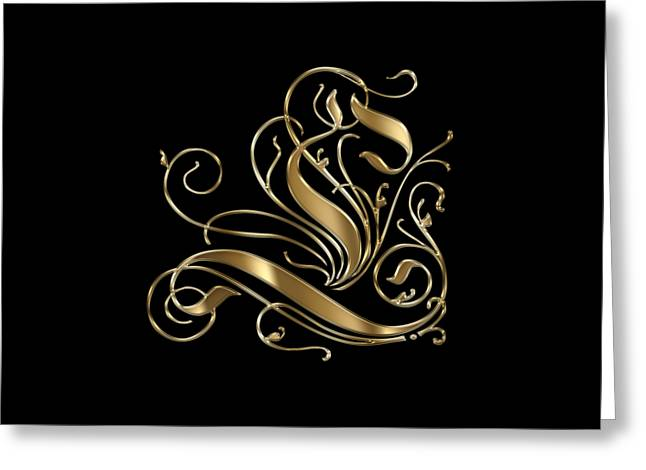 L Golden Ornamental Letter Typography Greeting Card by Georgeta Blanaru