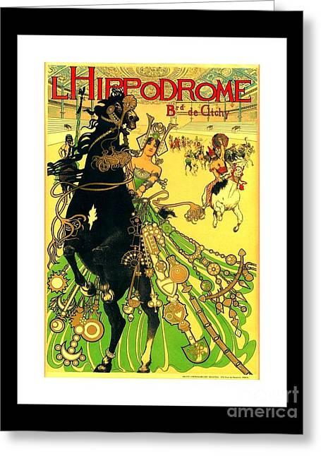 L Hippodrome 1905 Parisian Art Nouveau Poster II Manuel Orazi 1905 Greeting Card