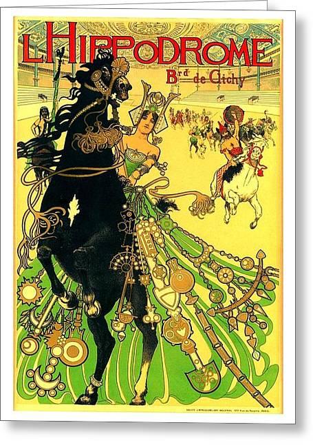 L Hippodrome 1905 Parisian Art Nouveau Poster II 1905 Greeting Card