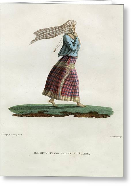 Greeting Card featuring the drawing L Ile Guam Femme Allant A  L Eglise by Jacques Arago