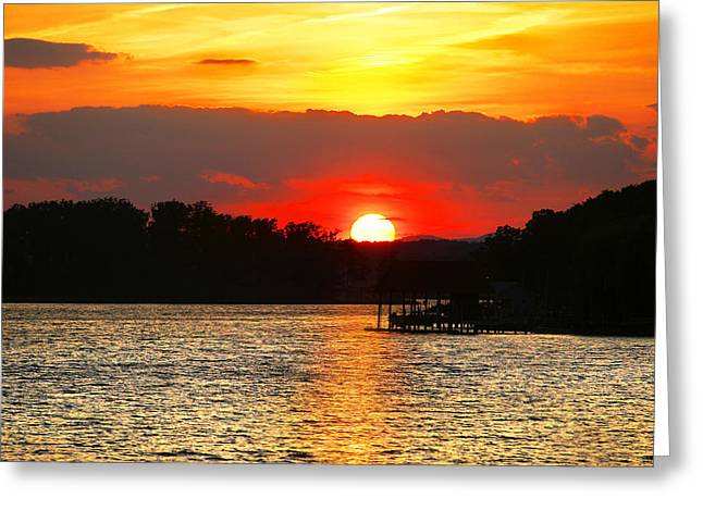 Bloody Red Sunset Smith Mountain Lake Greeting Card by The American Shutterbug Society