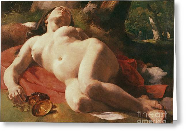 Chest Paintings Greeting Cards - La Bacchante Greeting Card by Gustave Courbet
