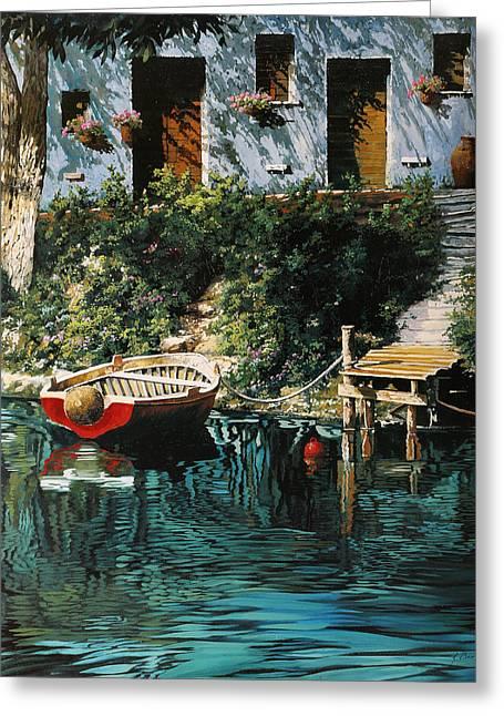 La Barca Al Molo Greeting Card by Guido Borelli