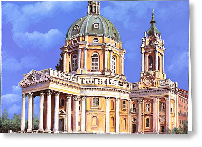 la basilica di Superga Greeting Card by Guido Borelli