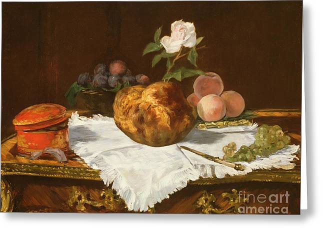 La Brioche Greeting Card by Edouard Manet