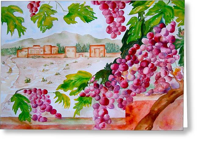 Greeting Card featuring the painting La Casa Del Vino by Sharon Mick