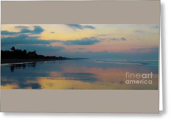 la Casita Playa Hermosa Puntarenas - Sunrise One - Painted Beach Costa Rica Panorama Greeting Card