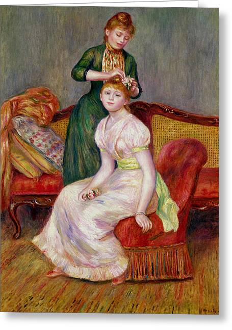 Couch Greeting Cards - La Coiffure Greeting Card by Renoir
