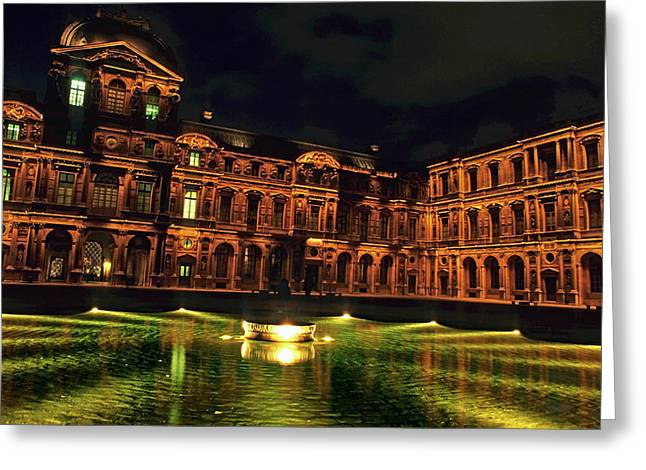 La Cour Carree And The Building Of The Louvre Illuminated At Night Greeting Card by Sami Sarkis
