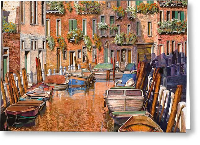 La Curva Sul Canale Greeting Card by Guido Borelli