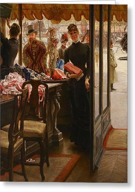 La Demoiselle De Magasin Greeting Card by James Tissot