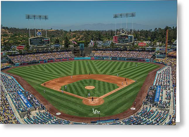 Greeting Card featuring the photograph La Dodgers Los Angeles California Baseball by David Haskett