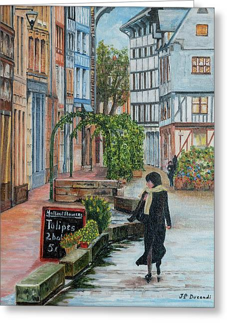 La Femme Aux Tulipes Greeting Card by Jean-Pierre Ducondi