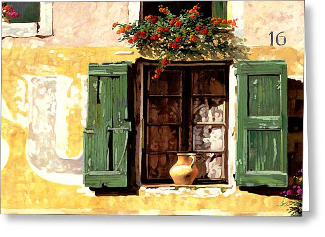 Wall Greeting Cards - la finestra di Sue Greeting Card by Guido Borelli