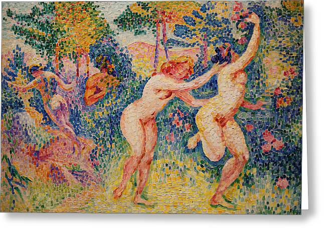 La Fuite Des Nymphes Greeting Card by Henri-Edmond Cross