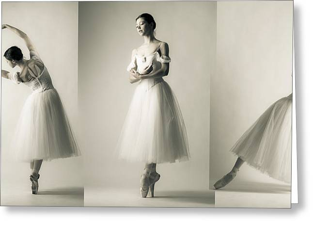 White Chopin Greeting Cards - La Giselle - A Tryptich Greeting Card by Nikolay Krusser