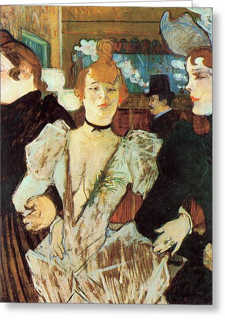 La Goulue Arriving At The Moulin Rouge With Two Women Greeting Card by Toulouse Lautrec