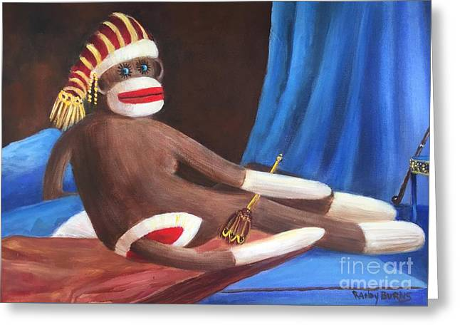 Greeting Card featuring the painting La Grande Sock Monkey by Randol Burns