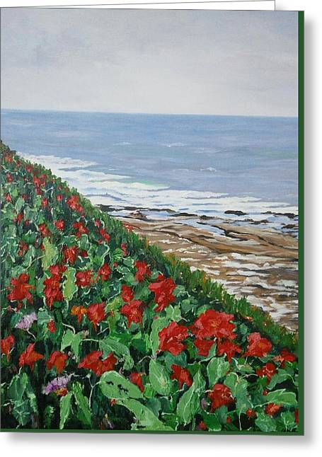 Greeting Card featuring the painting La Jolla Beach, San Diego by Ray Khalife