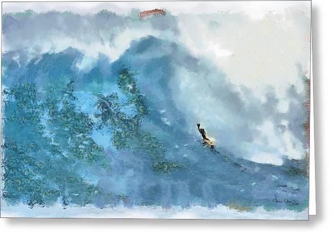 La Jolla Big Surf Greeting Card by Russ Harris