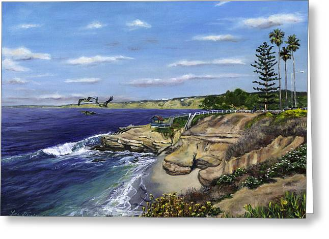 La Jolla Surfers Greeting Cards - La Jolla Cove West Greeting Card by Lisa Reinhardt