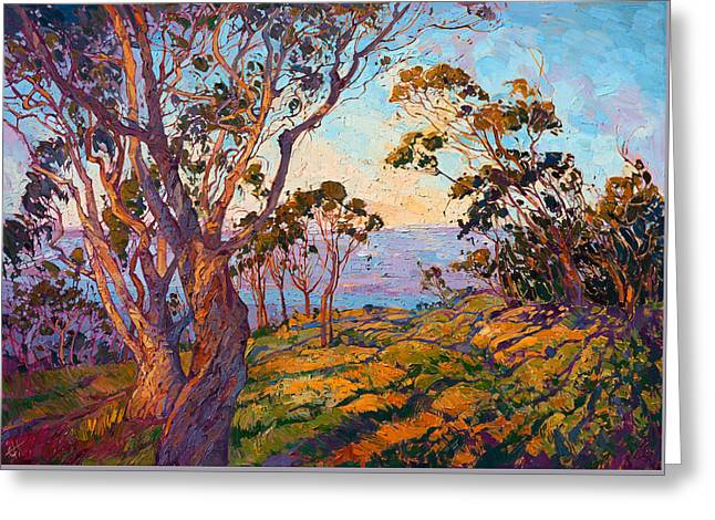 La Jolla Eucalyptus Greeting Card by Erin Hanson