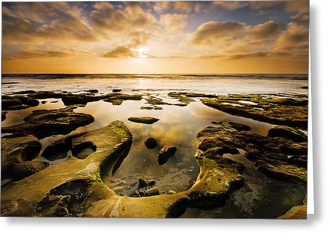 Sunset Seascape Greeting Cards - La Jolla Horseshoe Greeting Card by Joel Olives