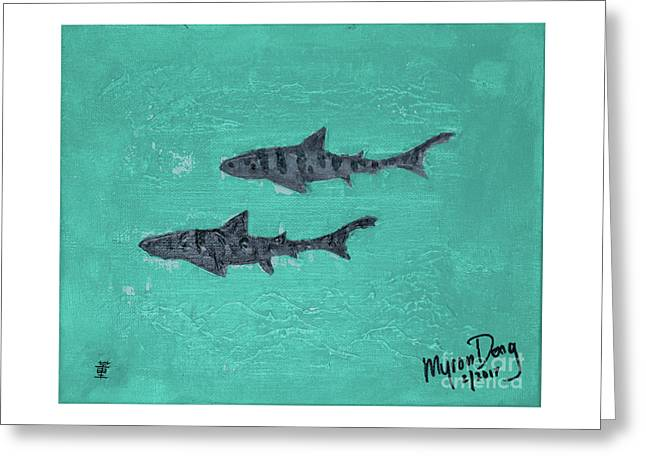 La Jolla Leopard Sharks Greeting Card by Myron Dong