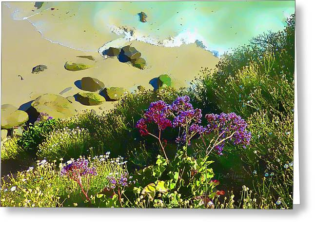 La Jolla Art Greeting Cards - La Jolla Sandy Beach Greeting Card by Russ Harris