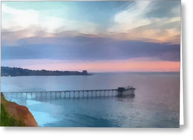 La Jolla Art Greeting Cards - La Jolla Scripps Pier Greeting Card by Russ Harris
