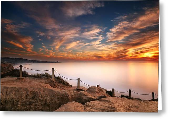 Sand Art Greeting Cards - La Jolla Sunset Greeting Card by Larry Marshall