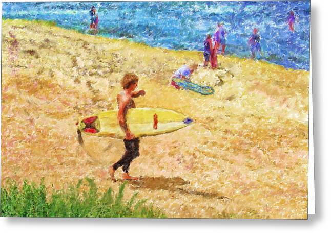 Marilyn Sholin Mixed Media Greeting Cards - La Jolla Surfers Greeting Card by Marilyn Sholin
