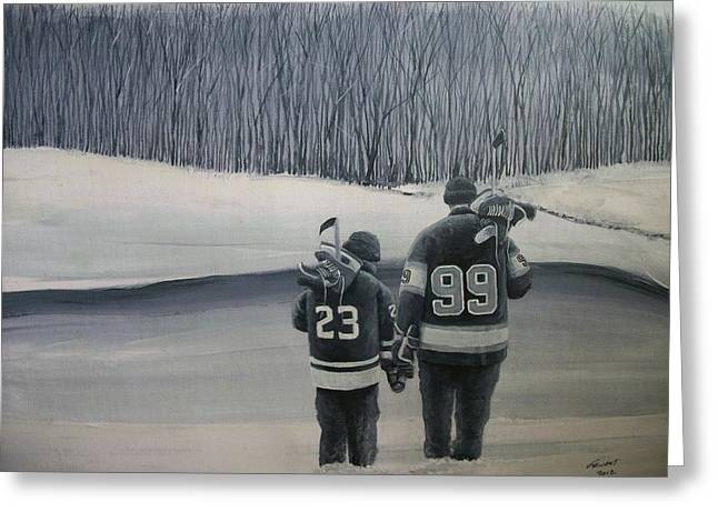 Youth Hockey Paintings Greeting Cards - La Kings in Black and White Greeting Card by Ron  Genest