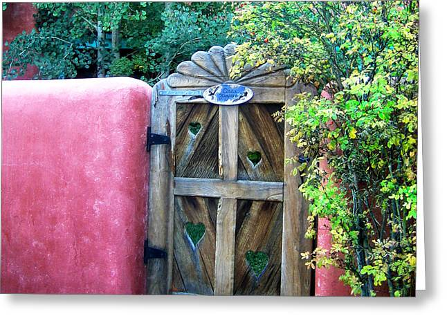 Julie Magers Soulen Greeting Cards - La Loma Gate Greeting Card by Julie Magers Soulen