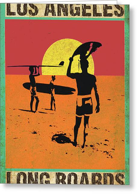 Greeting Card featuring the digital art La Long Boards by Greg Sharpe