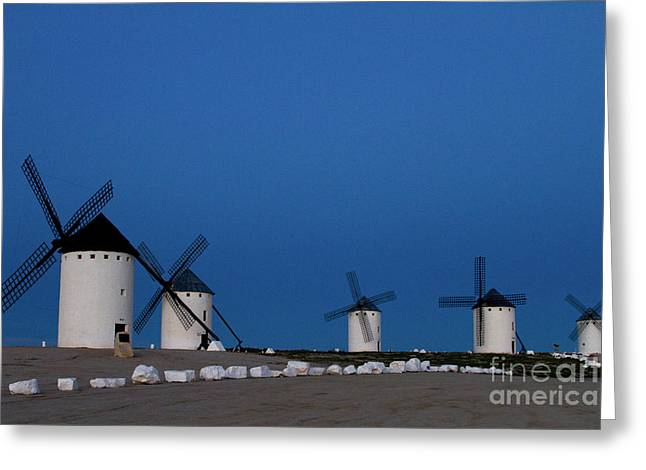 Greeting Card featuring the photograph La Mancha Windmills by Heiko Koehrer-Wagner